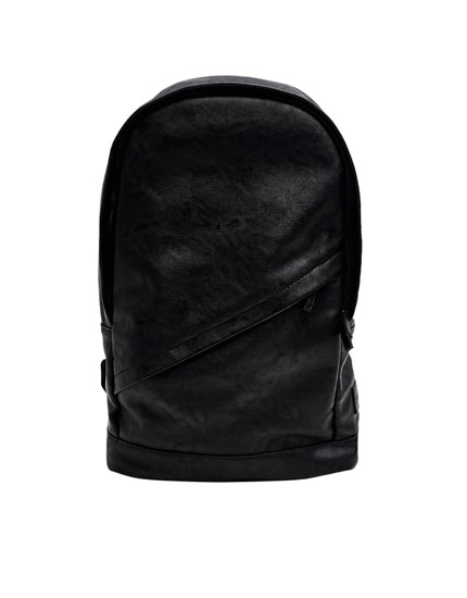 Backpack with diagonal faux leather trim