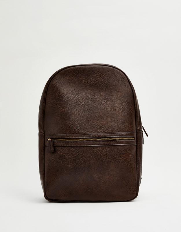 Kunstlederrucksack mit Taschen