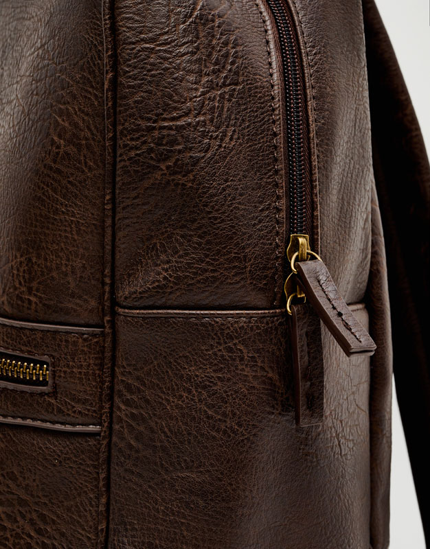 Faux leather backpack with pockets