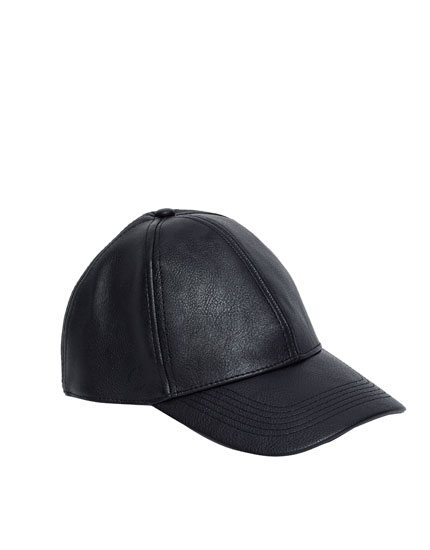 Leather effect baseball cap