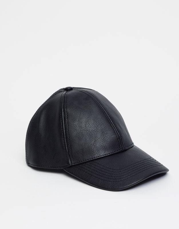 Leather effect baseball cap