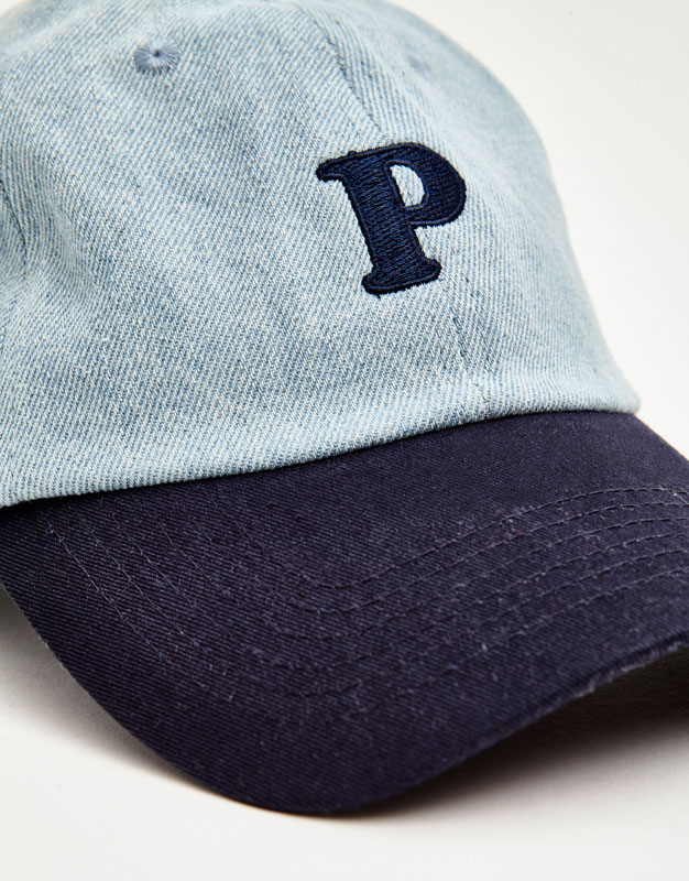 Denim cap with the letter 'P'