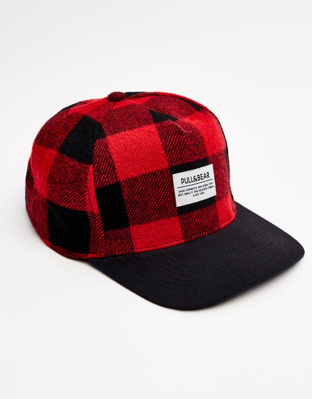 Gorra cuadro damero roja