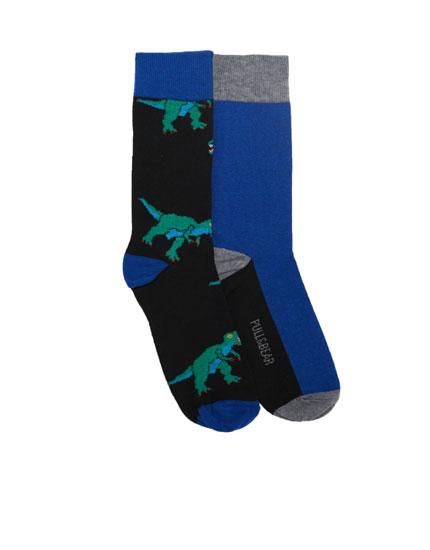 2-pack of long dinosaur print socks
