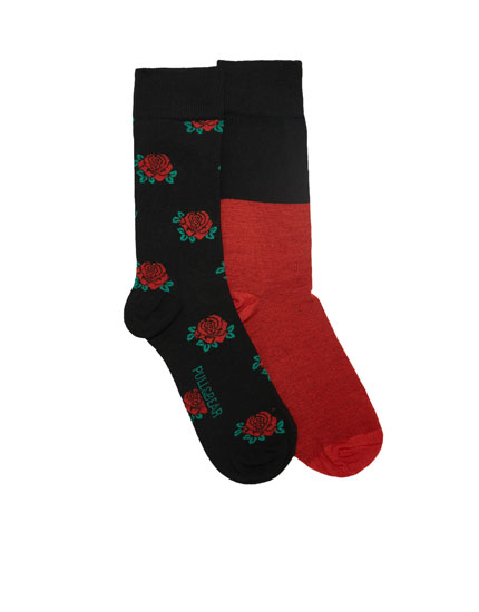 2-pack of long rose print socks