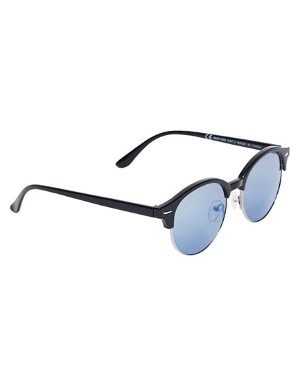 Round sunglasses with upper frame