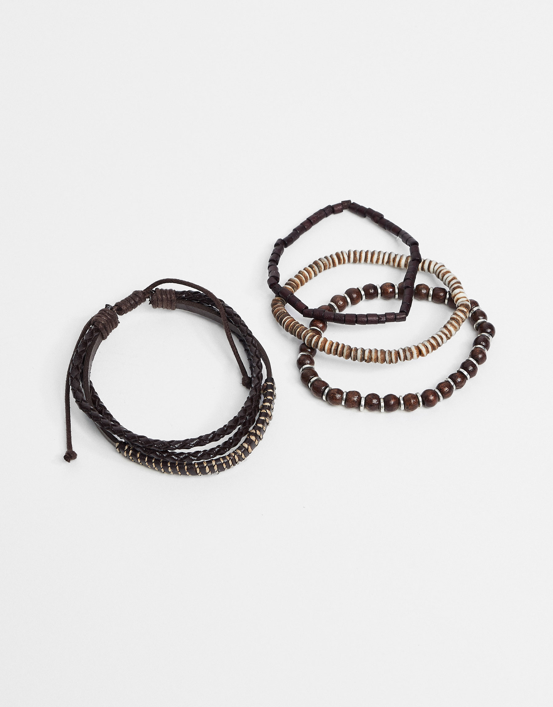Leather and beaded bracelets