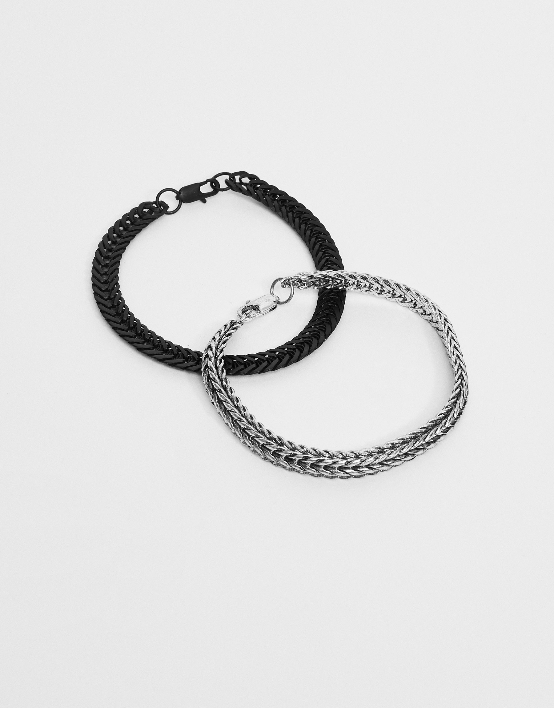 Black and metallic bracelets