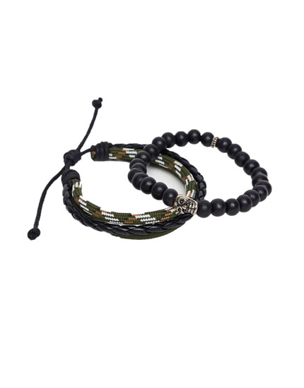 Pack of bead and rope bracelets