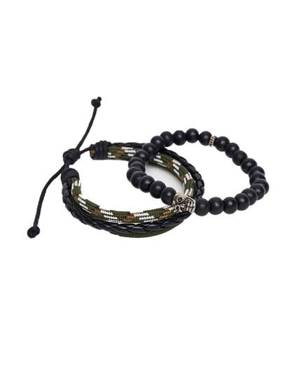 Pack pulseras cordón y cuentas