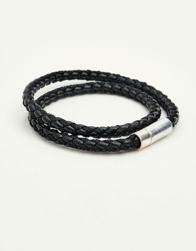 Black leather cord bracelets