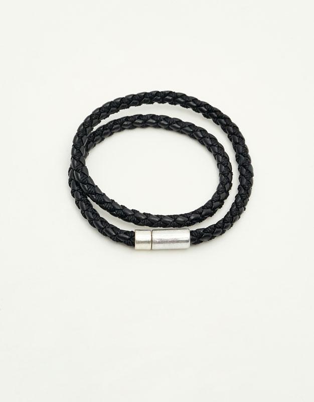 Black leather cord bracelets
