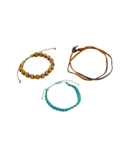 Pack of leather and cord bracelets