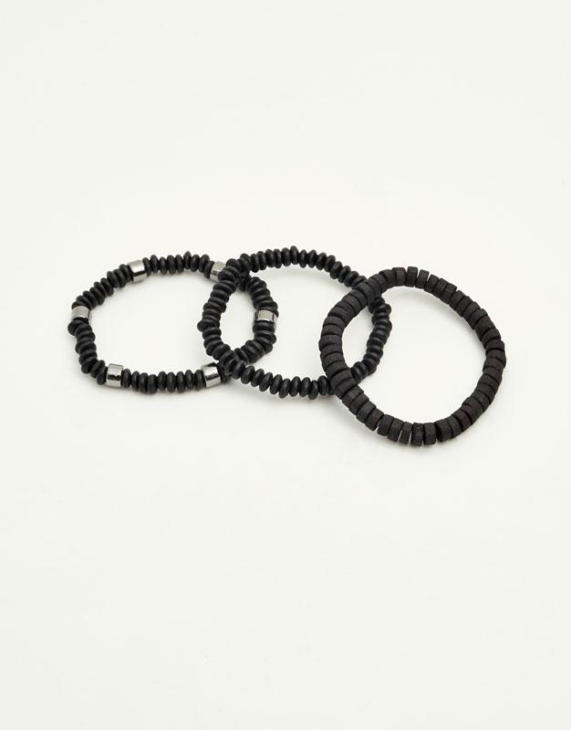 Bracelets with black beads