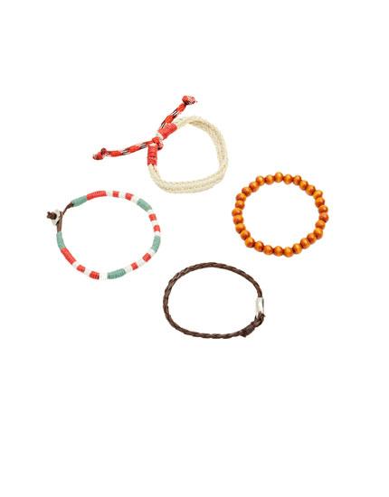 Pack Armbänder mit Leder und Strass