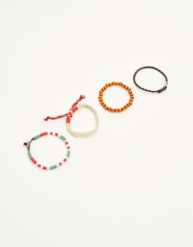 Pack of leather and beaded bracelets