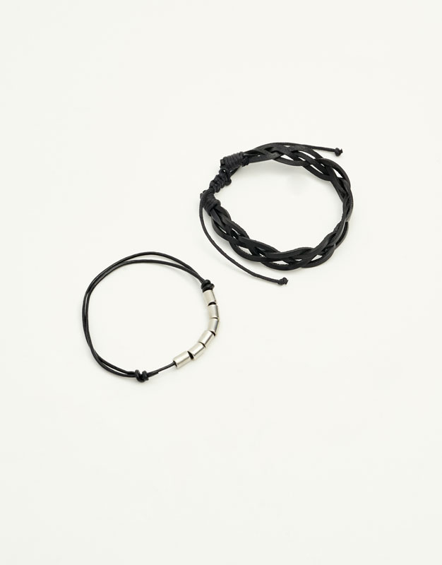 Metal and leather bracelets