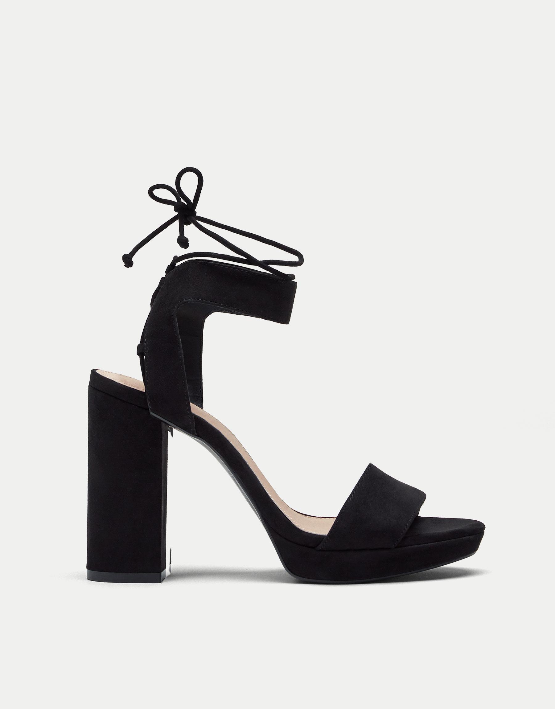 Sandale à talon et bride cheville noire