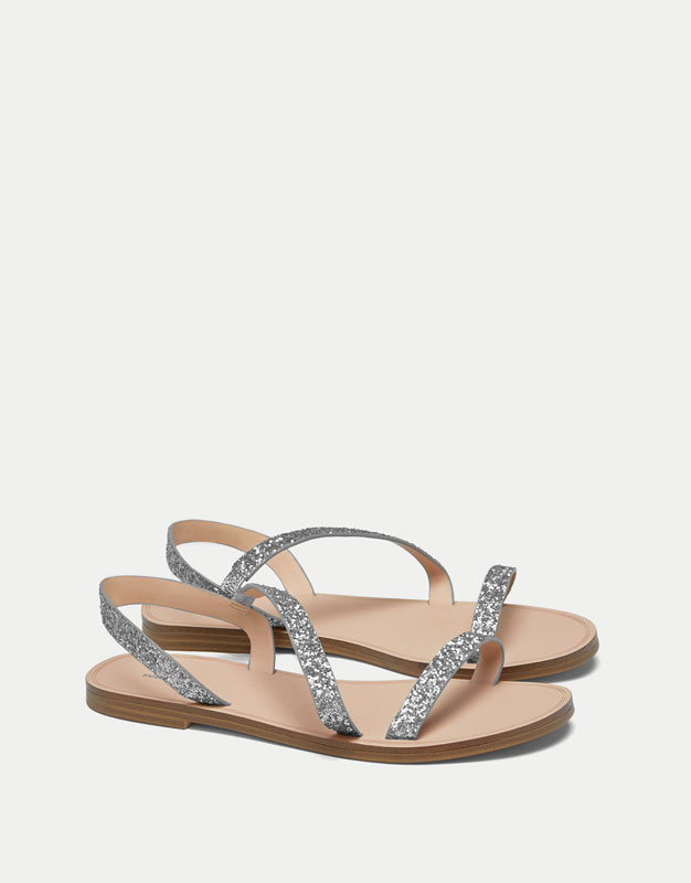 Sandals with glittery straps