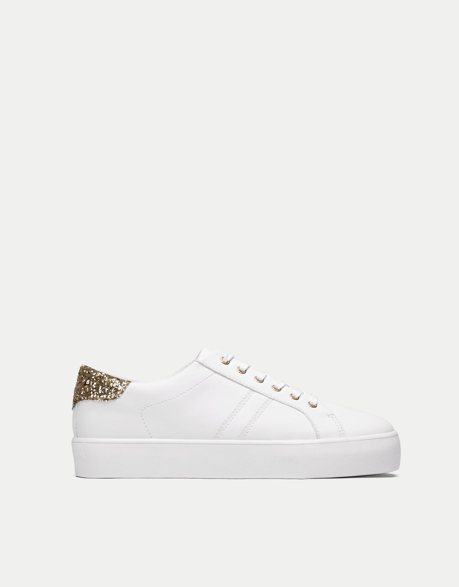Plimsolls with glittery heel