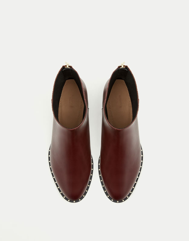 Burgundy studded ankle boots