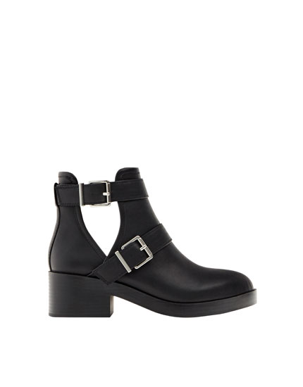Flat openwork ankle boots