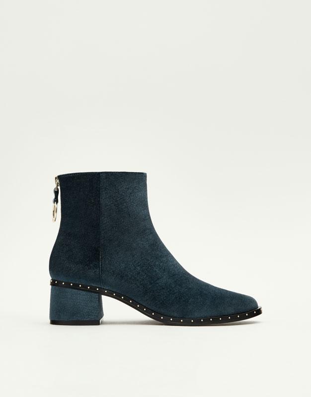 Pull&Bear - femme - chaussures - bottines - bottines velours - bleu - 15045211-I2017