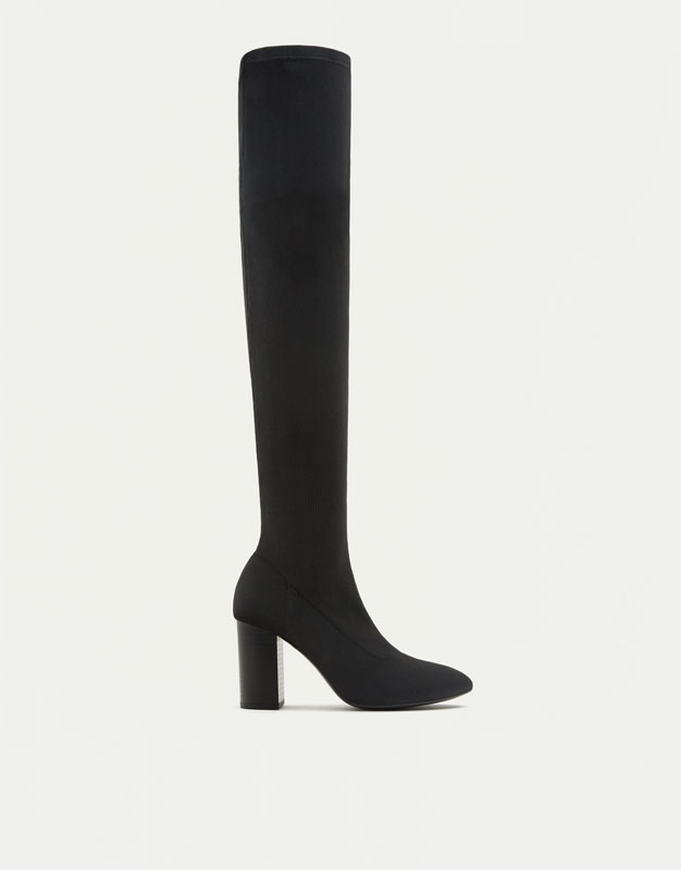 Knee-high fabric boots