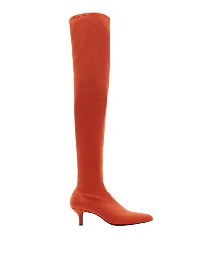 Knee-high elastic boots