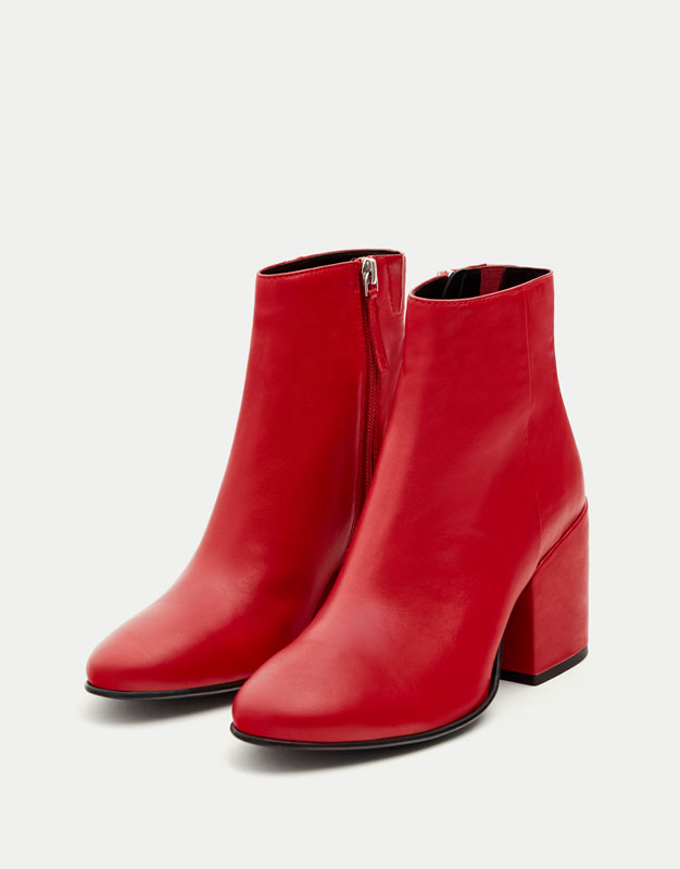Red leather high heel ankle boots