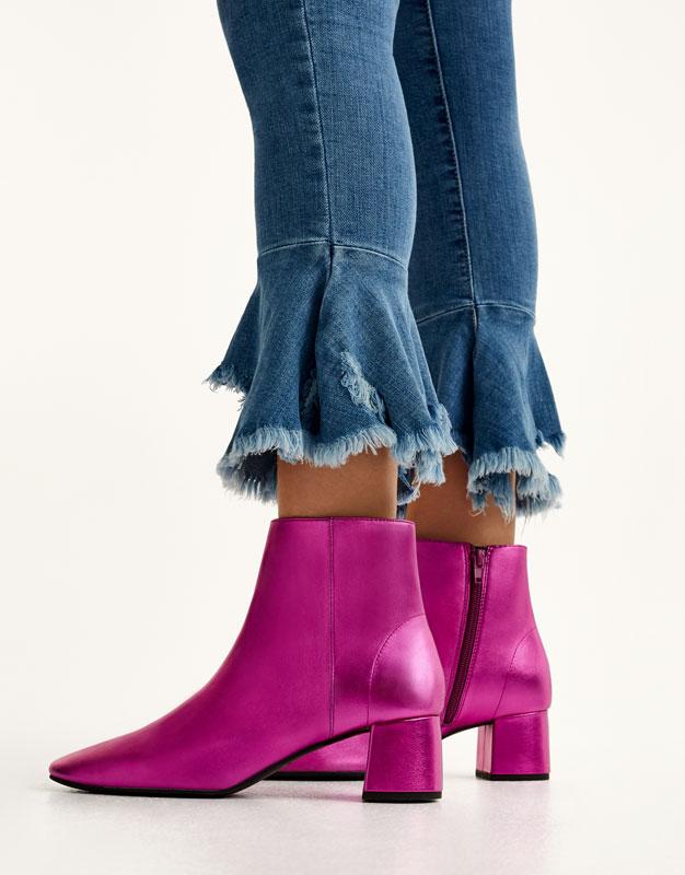 Metallic high heel ankle boots