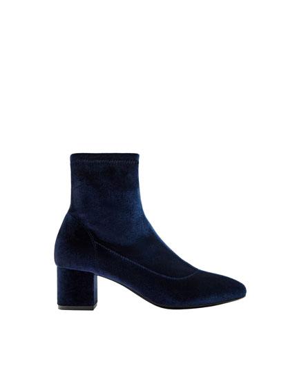 Soft velvet ankle boots