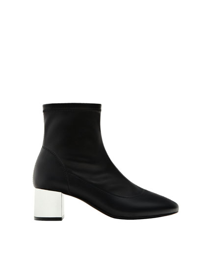 Laminated high heel ankle boots