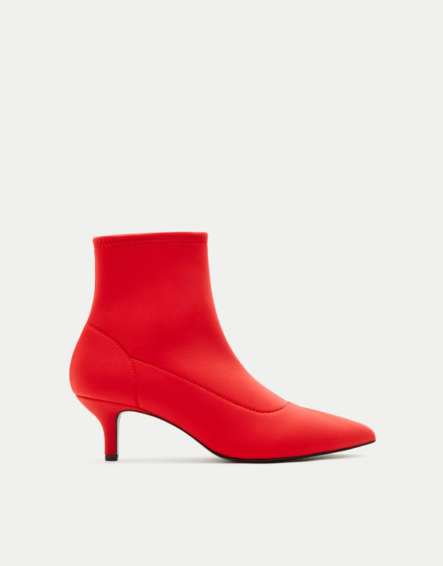 Pointed elastic high heel ankle boots