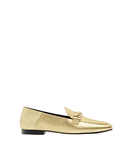 Metallic loafers with chain link detail