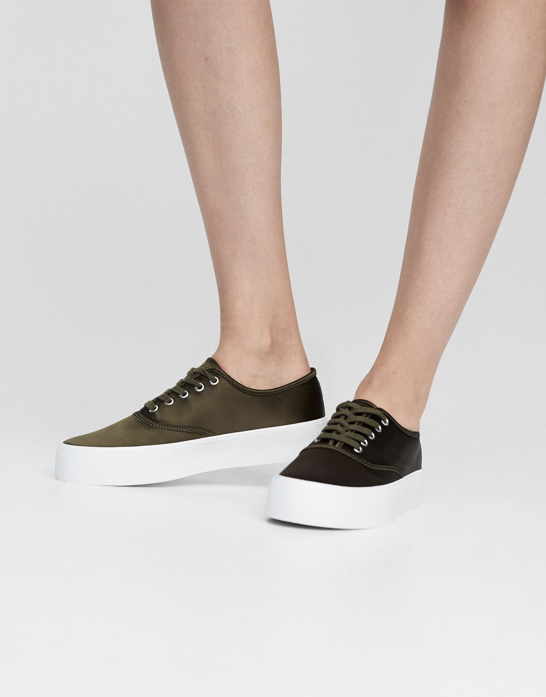 Khaki satin sneakers
