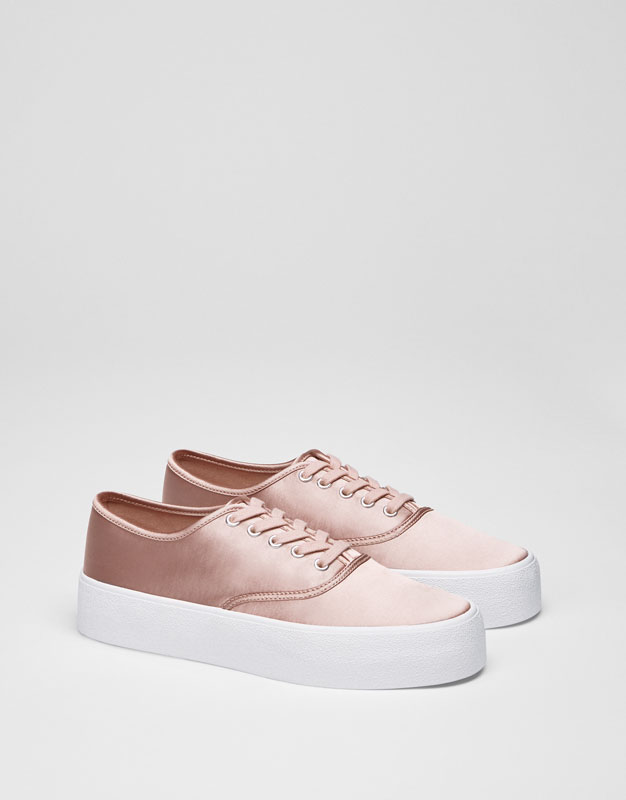 Nude satin sneakers
