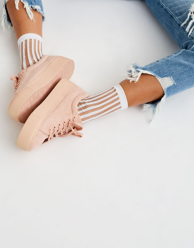 Monochrome chunky sole sneakers