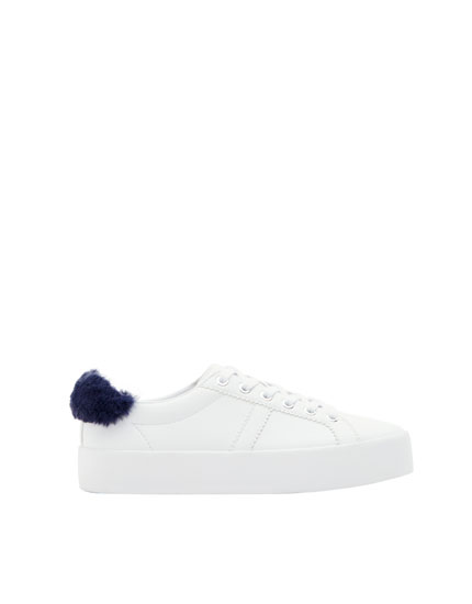 Sneakers with faux fur detail