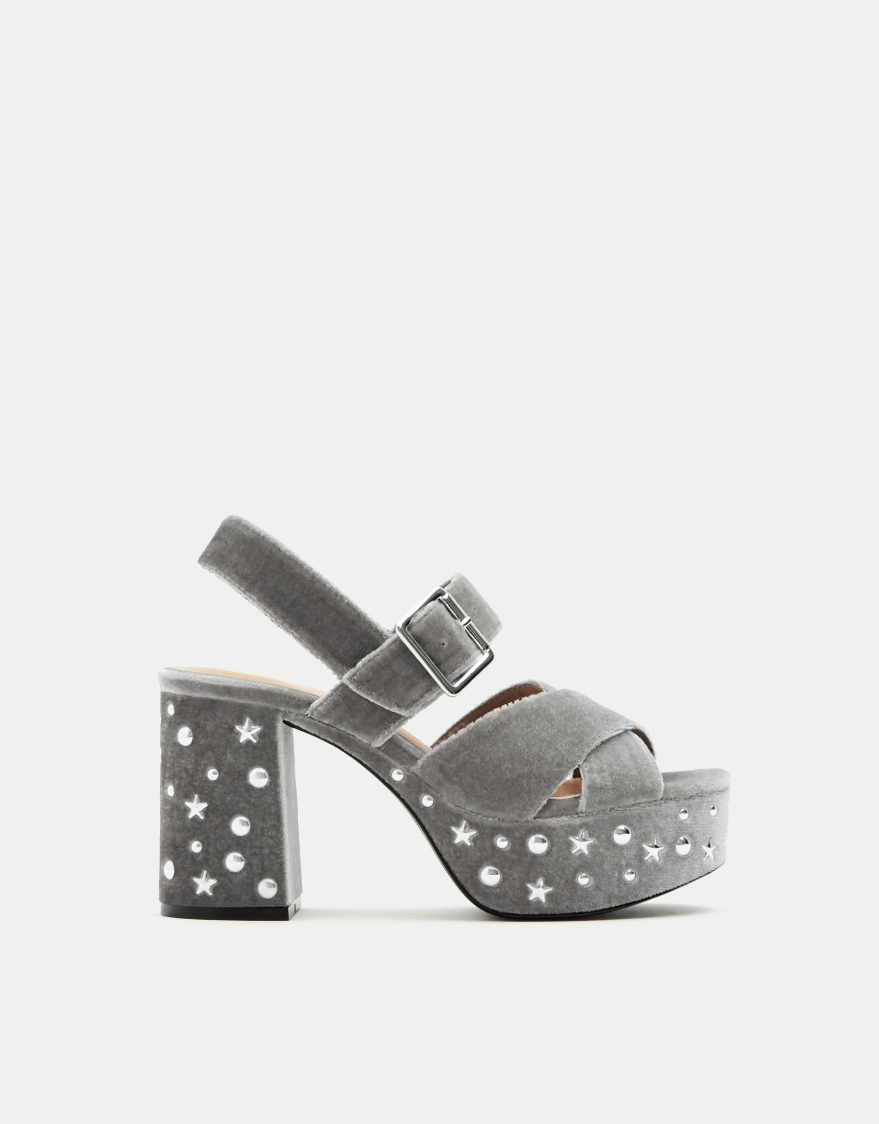 High heel sandals with star and moon studs