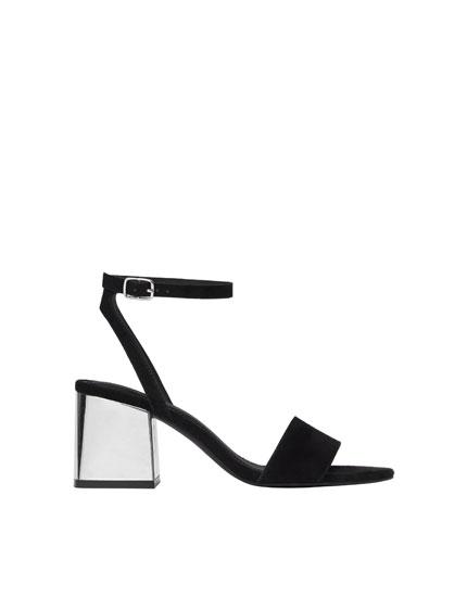 Laminated heel sandals