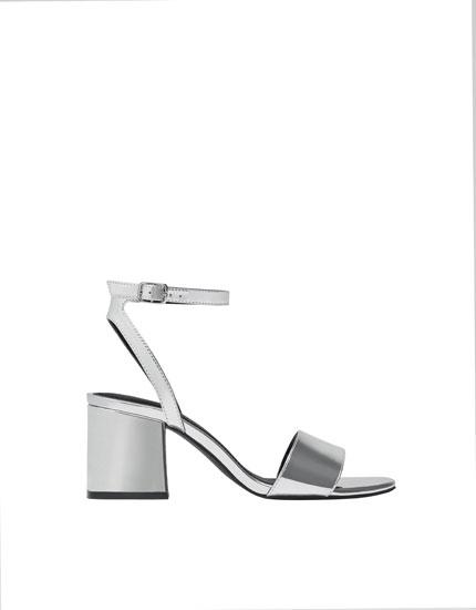 Silver mid-heel sandals