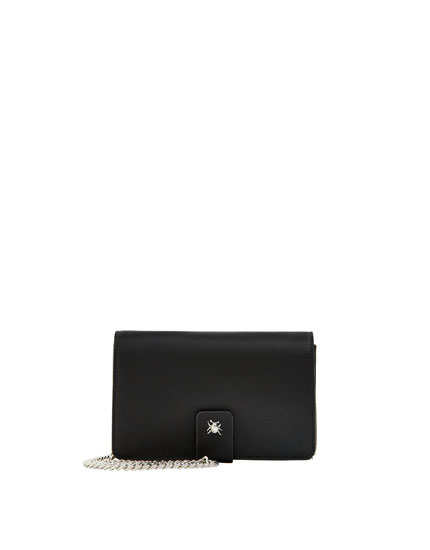 Black crossbody bag with fastener detail