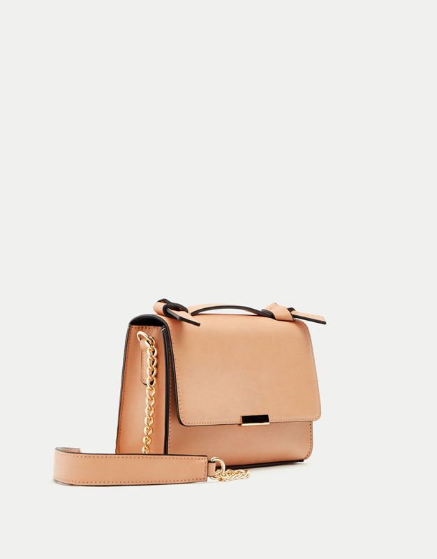 Nude crossbody bag with knotted handle
