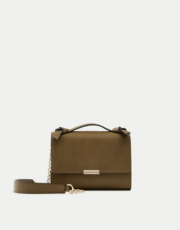 Khaki crossbody bag with knotted handle
