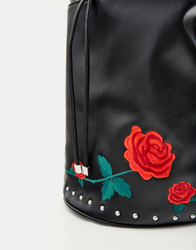 Bucket bag with embroidered detail