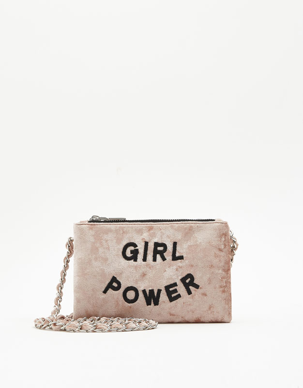 Velvet crossbody bag with slogan