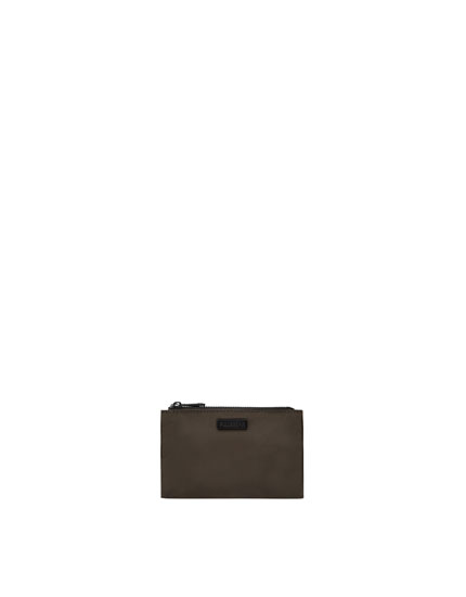 Portemonnaie mit doppeltem Reißverschluss in Kakigrün