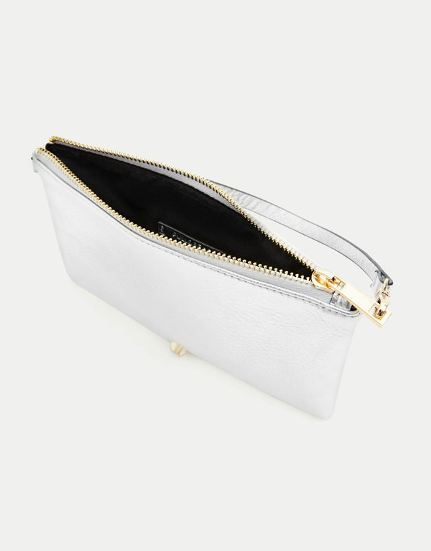 Metallic purse with silver detail