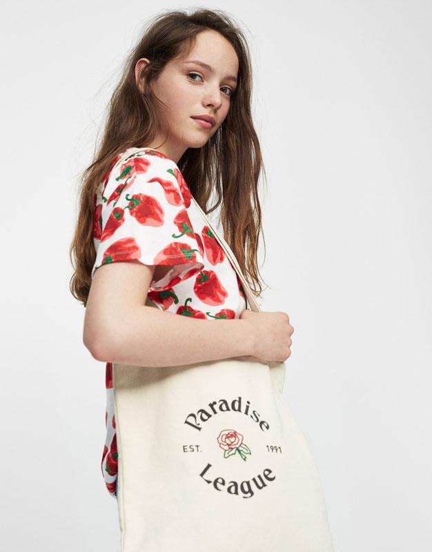 Paradise print tote bag